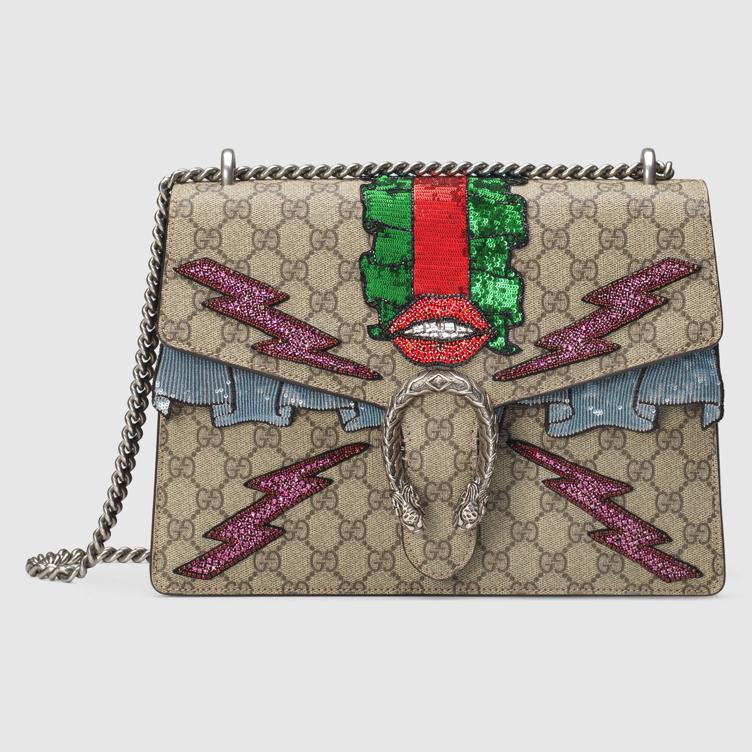 77011f54253 Gucci Women - Gucci Beige/Ebony Dionysus GG Supreme embroidered bag w/lips  on front $3,800.00