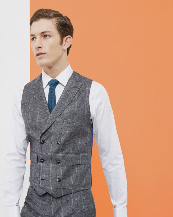 00fd9013a Checked double-breasted waistcoat - Gray