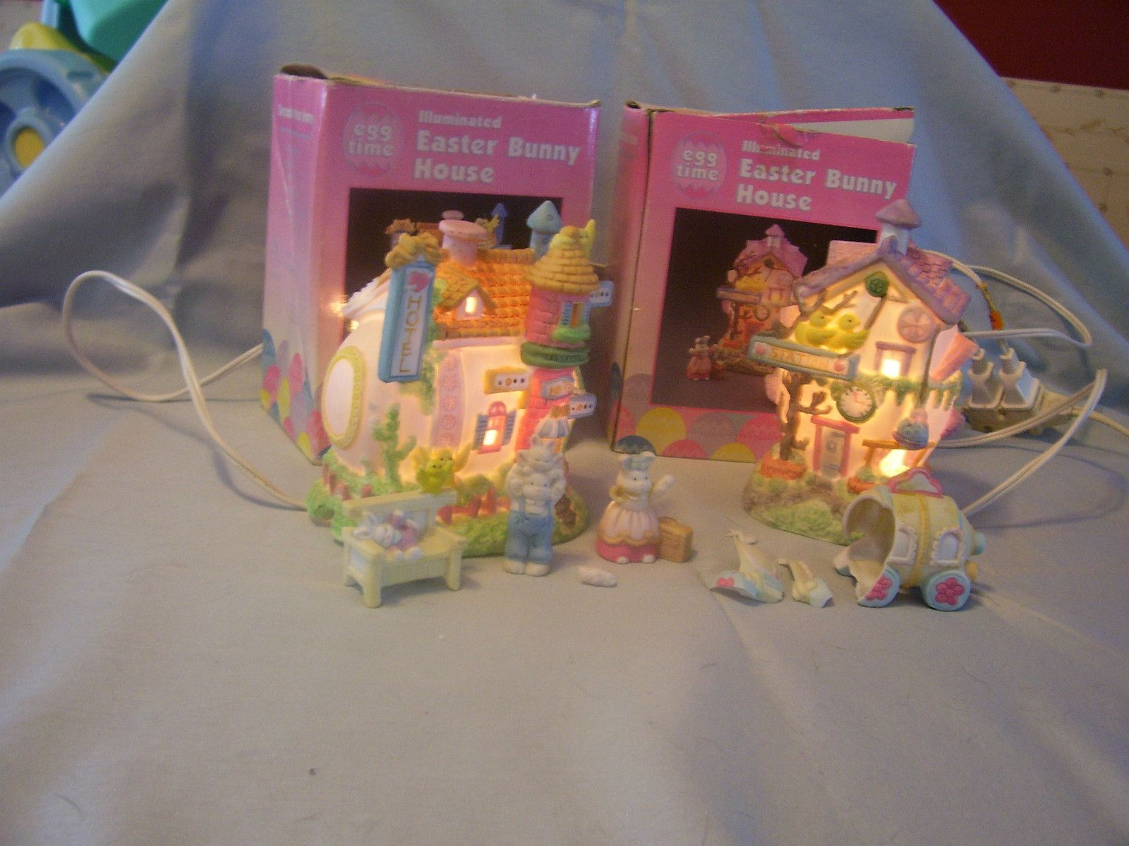 Illuminated easter bunny house nightlights with figurines for Kmart fish tank