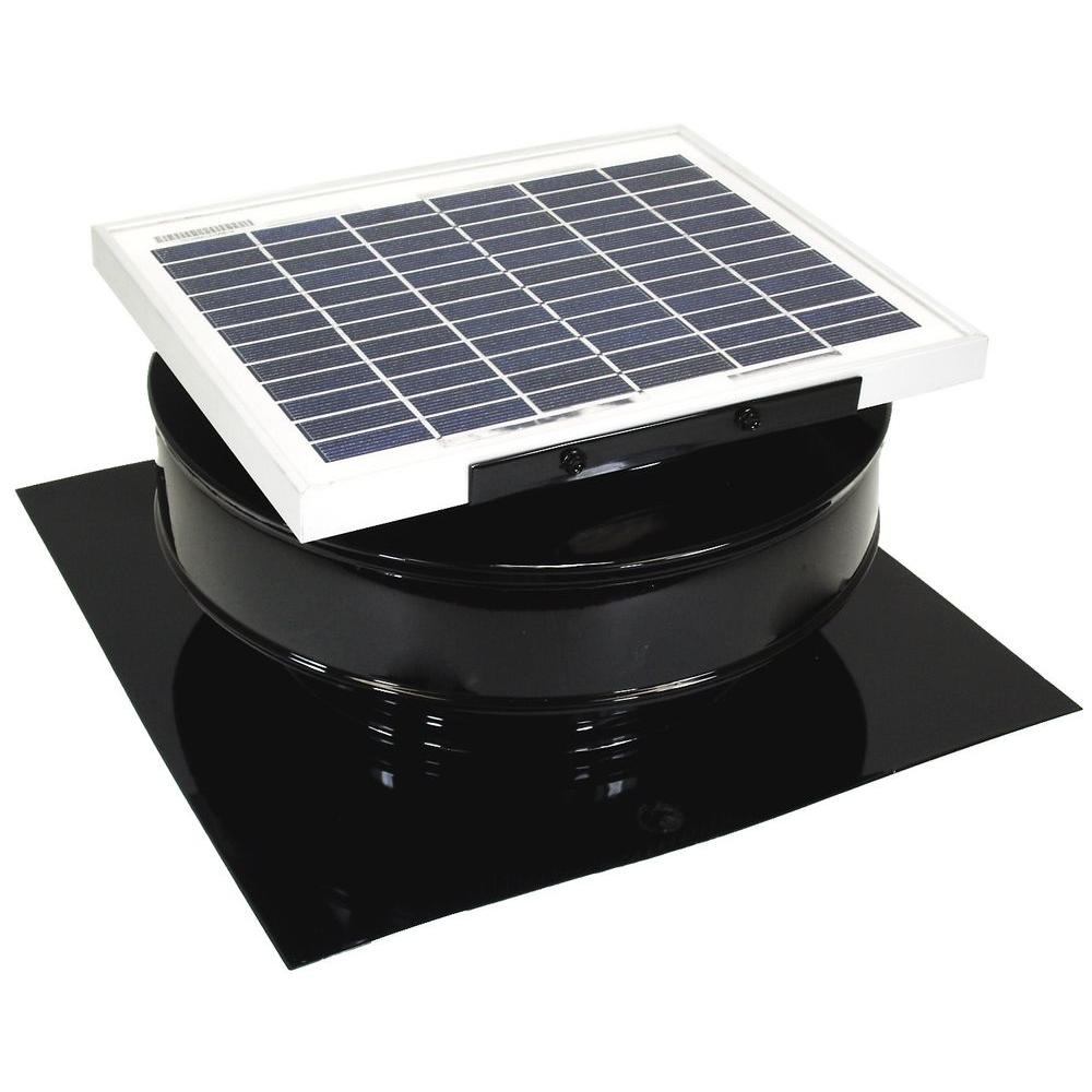 Active Ventilation 365 Cfm Black Powder Coated 5 Watt Solar Powered Roof Mounted Exhaust Attic Fan Solar Powered Attic Fan Attic Fan Solar Attic Fan