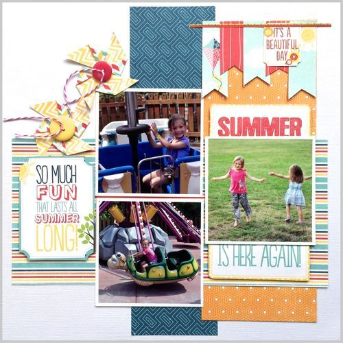Summer Fun #layout by Virginia Nebel for #SCTmagazine #scrapbooking #NSD2015