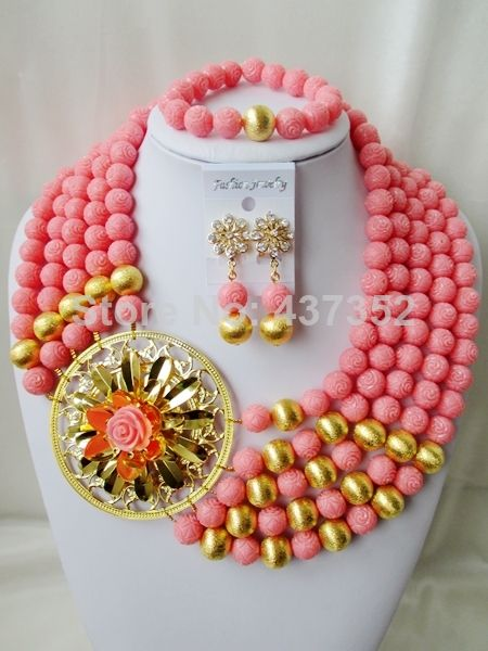 New Arrived Nigerian Bead Necklaces Wedding Artificial Beads Jewelry Set African Coral Beads Jewelry Set CWS1107 $98.77