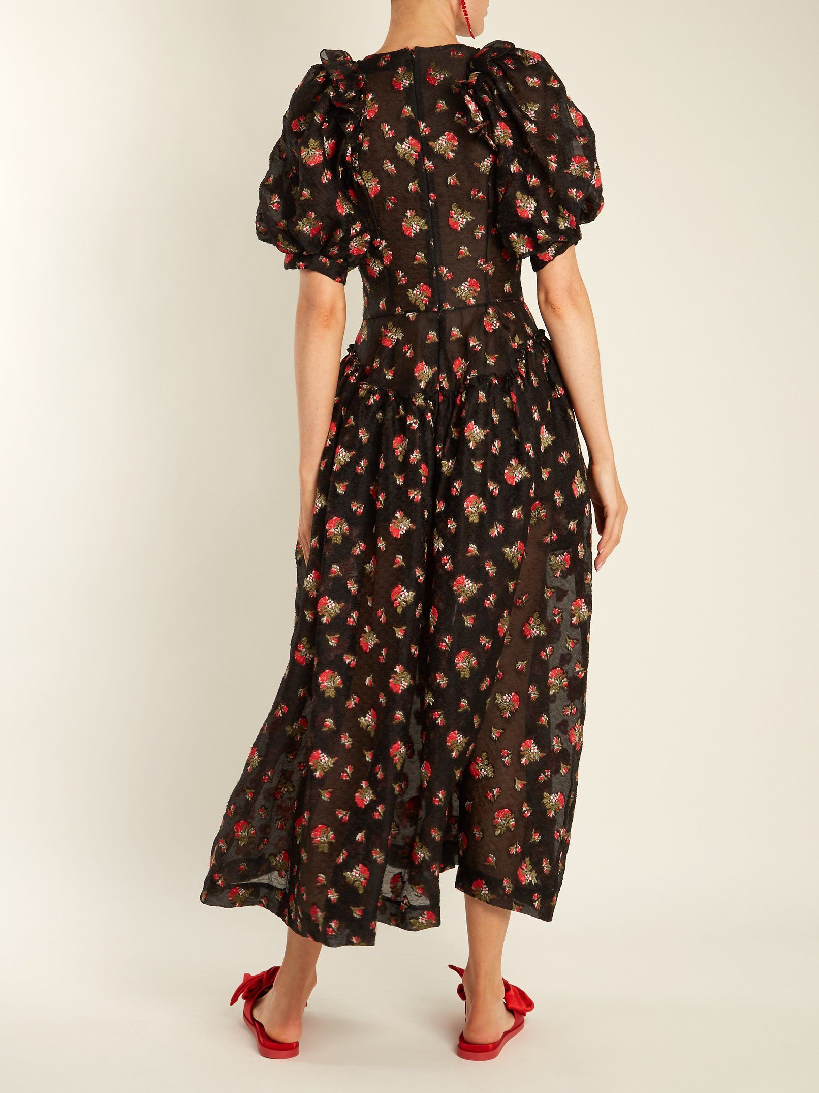 Puff-sleeve floral-embroidered crepe dress Simone Rocha 94kTYmCUS