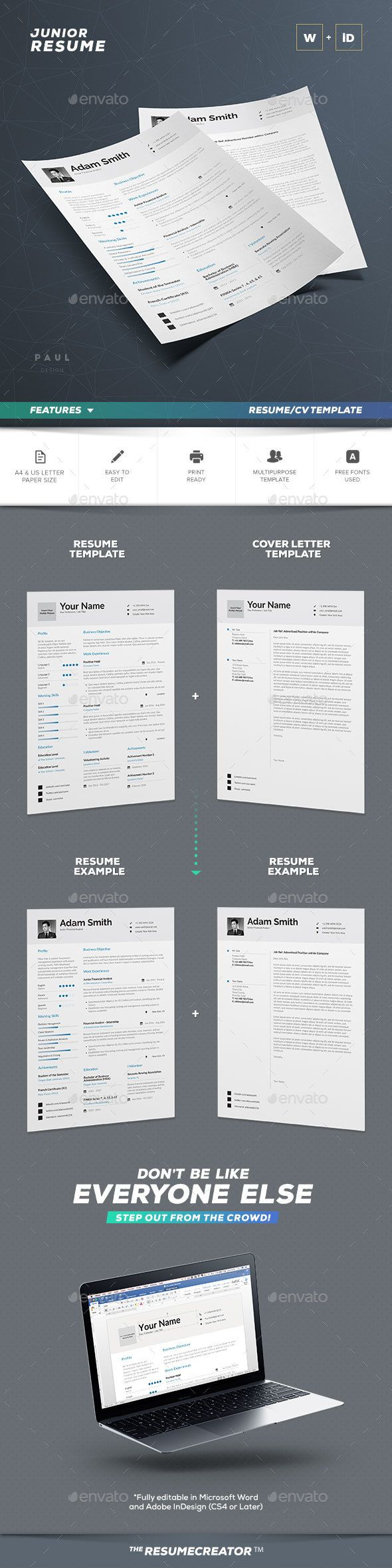 Cv Template - Word And Indesign