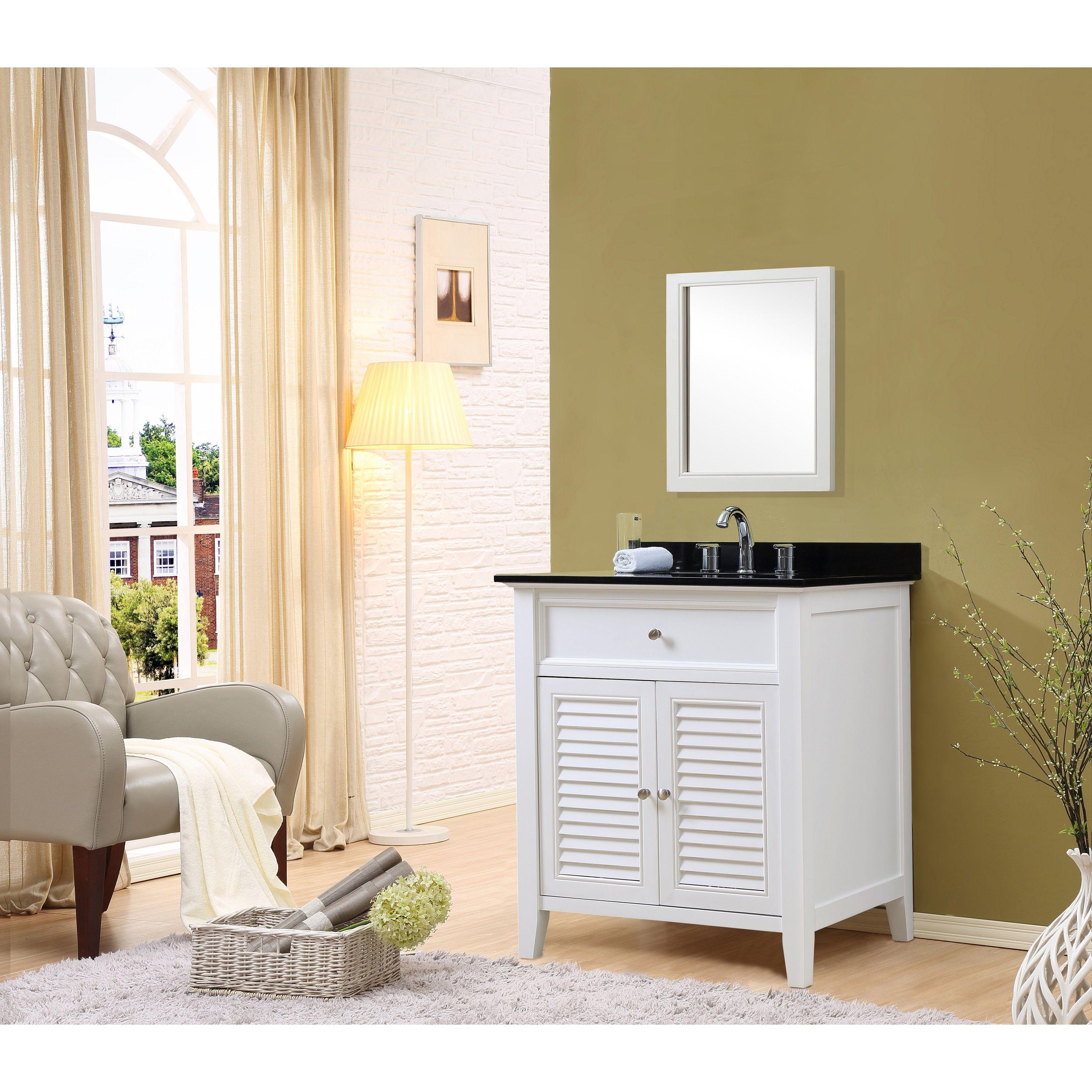 Inch White Vanity Black Granite Top and Mirror Size Single