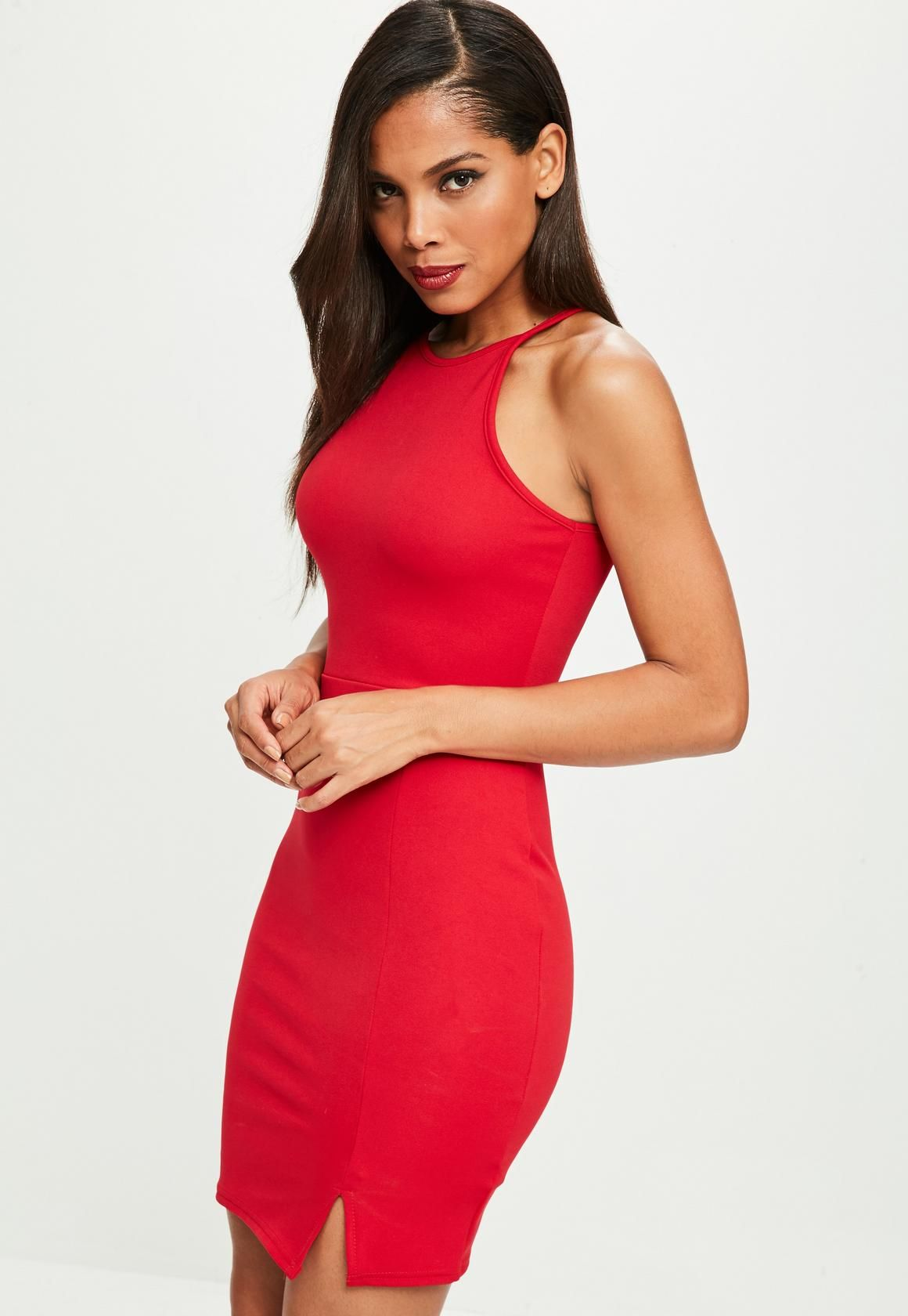 Red dress in a mini length s style neck and split hem Dream