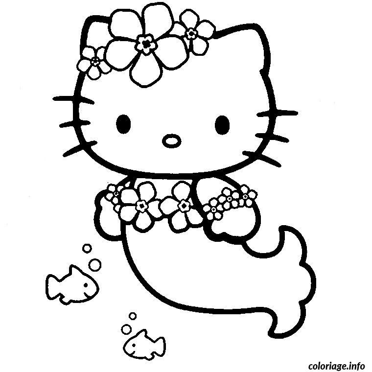 Coloriage Hello Kitty Sirene Buku Mewarnai Warna Buku