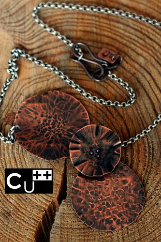 Copper necklace. Texture.