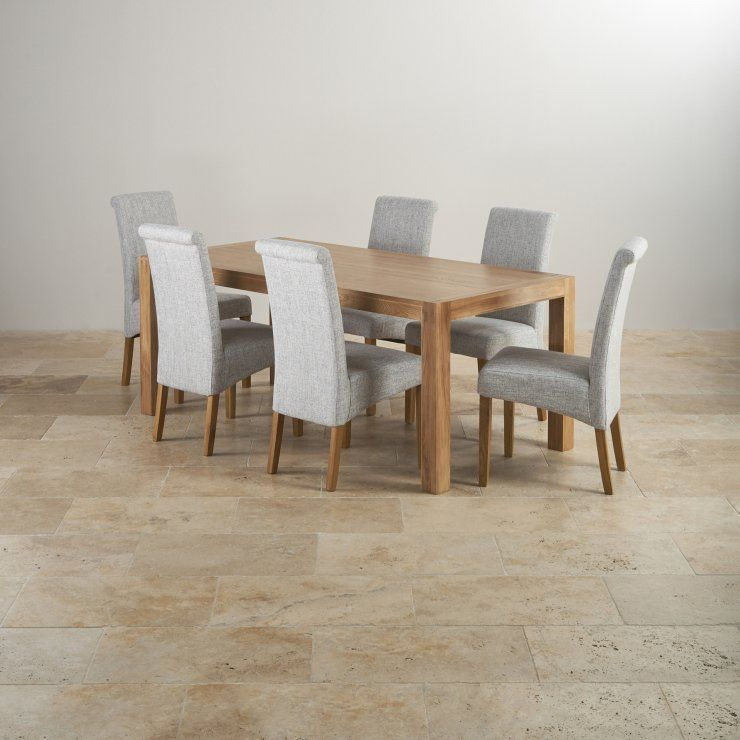 Natural Solid Oak Dining Sets 6ft Dining Table With 6 Chairs