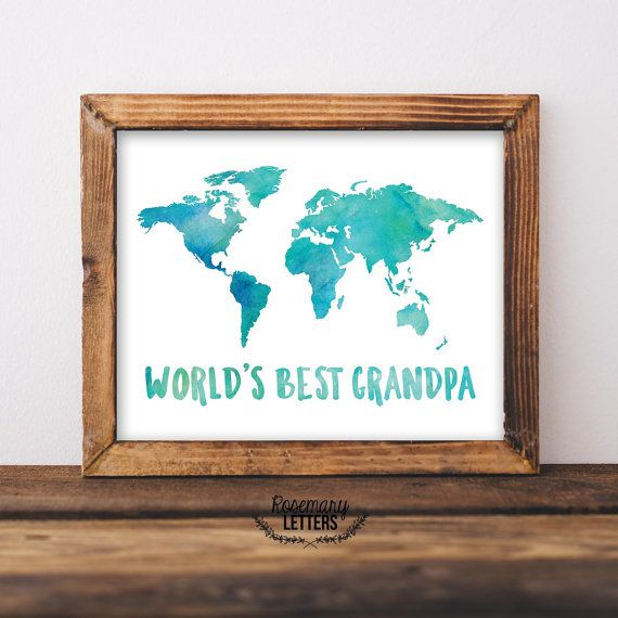 Worlds best grandpa quote with watercolor world map perfect gift worlds best grandpa quote with watercolor world map perfect gift for grandpas birthday or fathers gumiabroncs Images