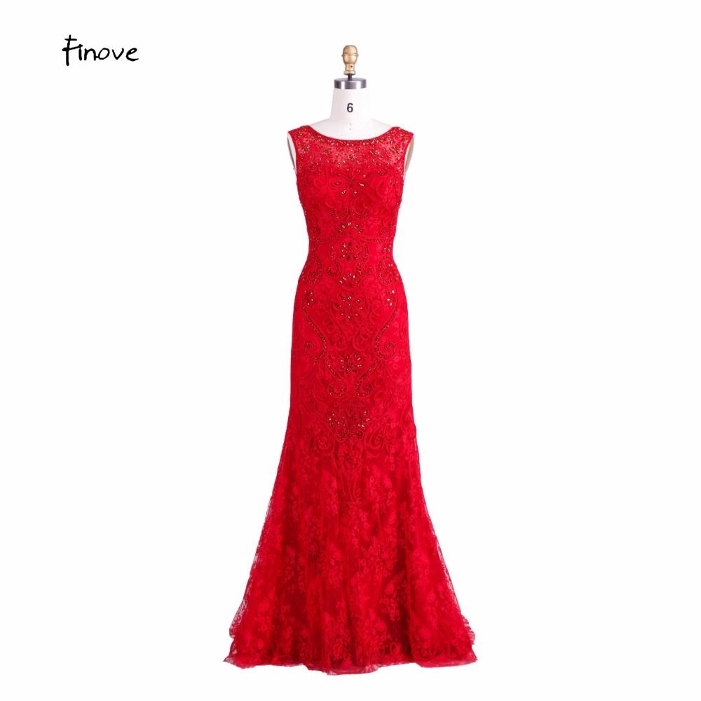 New party evening dress elegant for women tank red long lace
