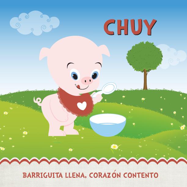 """Hola Amigos! A buen tiempo!"" – comenta Chuy.    Chuy el cerdito is the most humble, well-manered and clean pig you will ever meet. He's very picky about good eating habits y los modales en la mesa. Chuy posee una excelente muela del gusto que lo ha llevado a amar la comida latina tanto que le encantaria algun dia ser chef. If you are ever in need of some sugar or salt, you can count of your neighbor Chuy to gift you some."