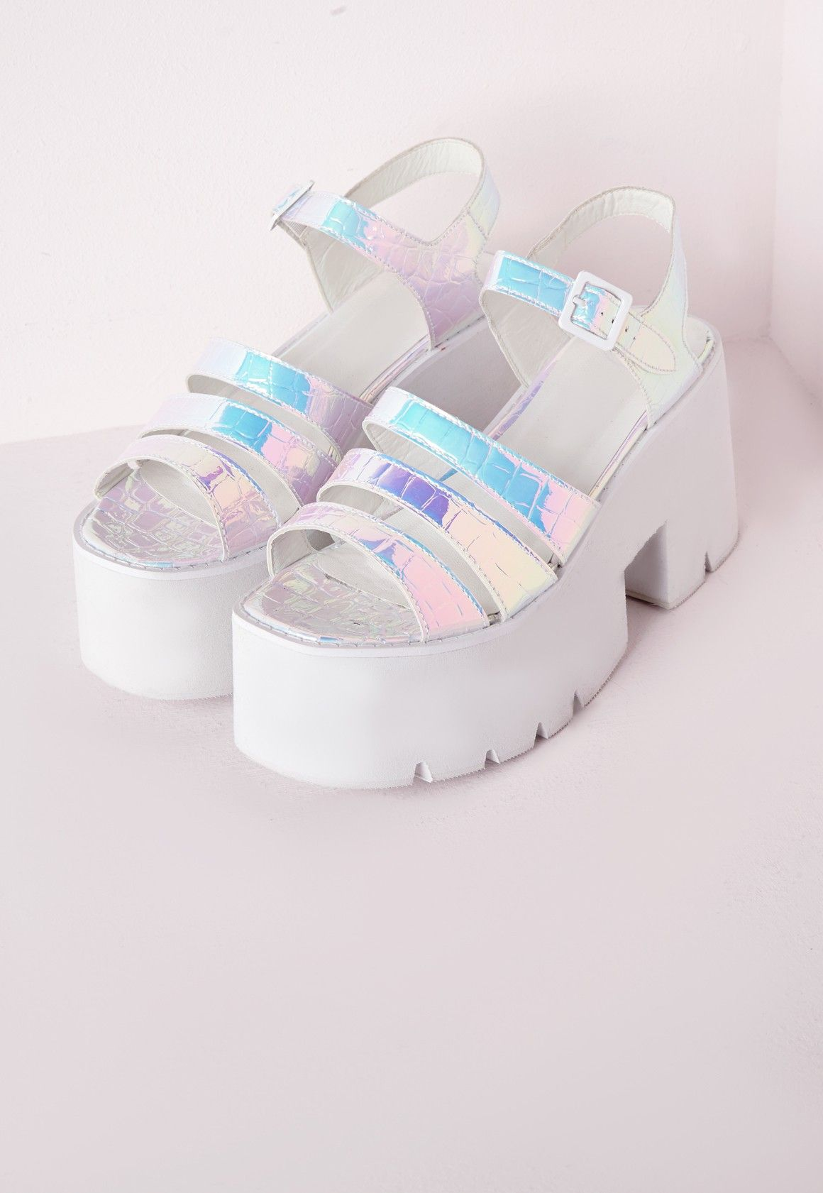 115887446 Missguided - Cleated Chunky Flatform Sandals Iridescent White Comprar  Zapatos