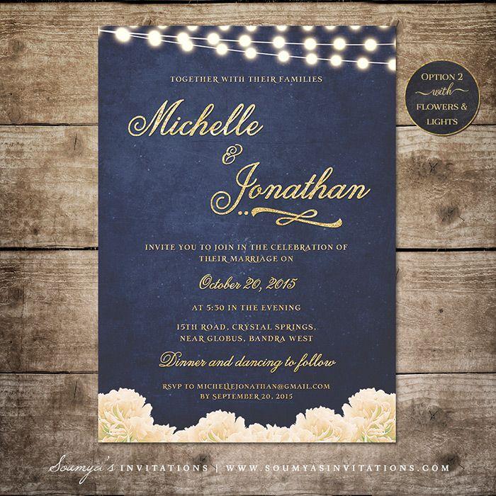 Navy Blue And Gold Wedding Invitation, String Lights Cream Peonies Wedding  Invite, Nautical Wedding