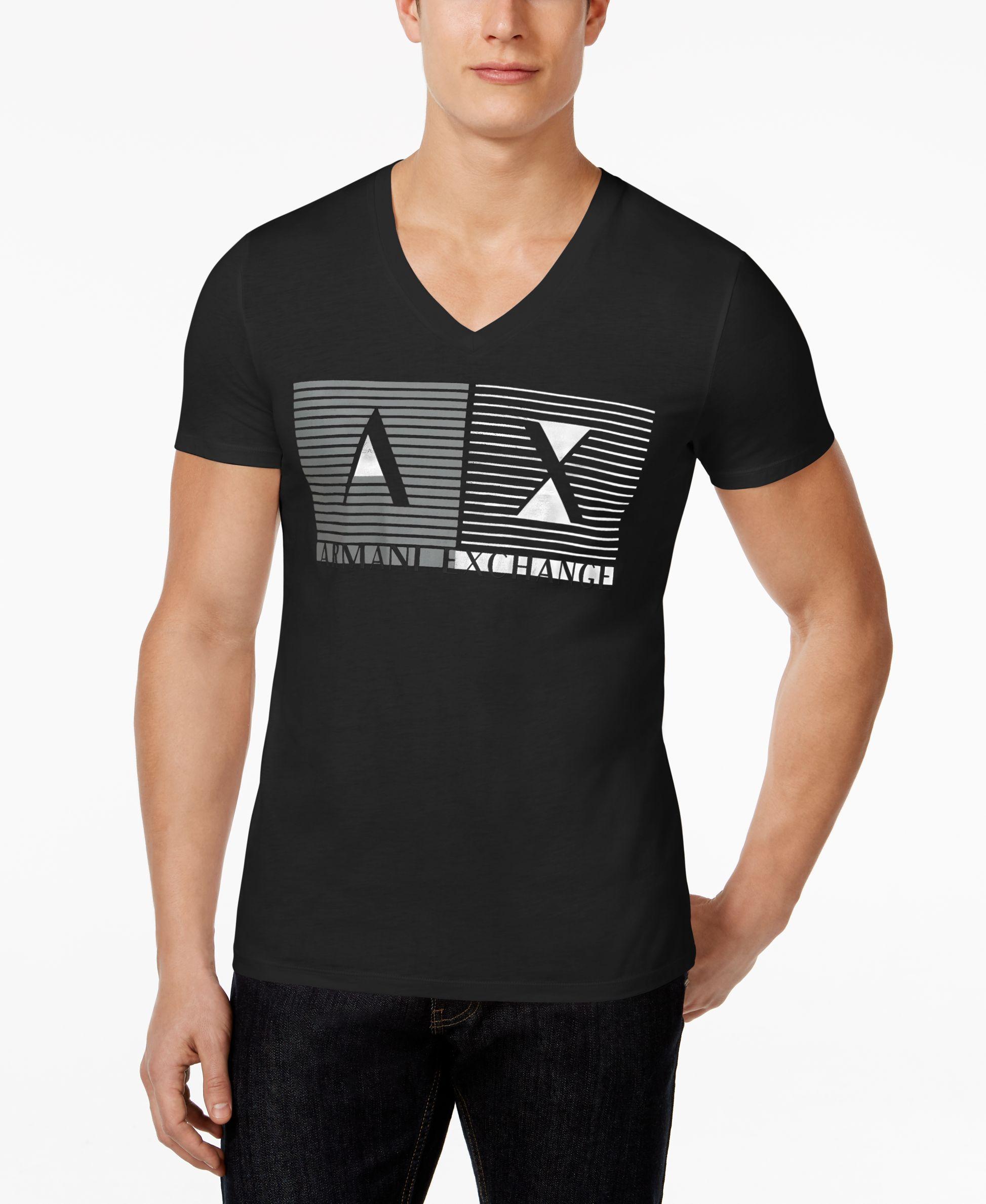 400b04fff3599e Armani Exchange Men s Inside Out Box Graphic-Print Logo V-Neck T-Shirt