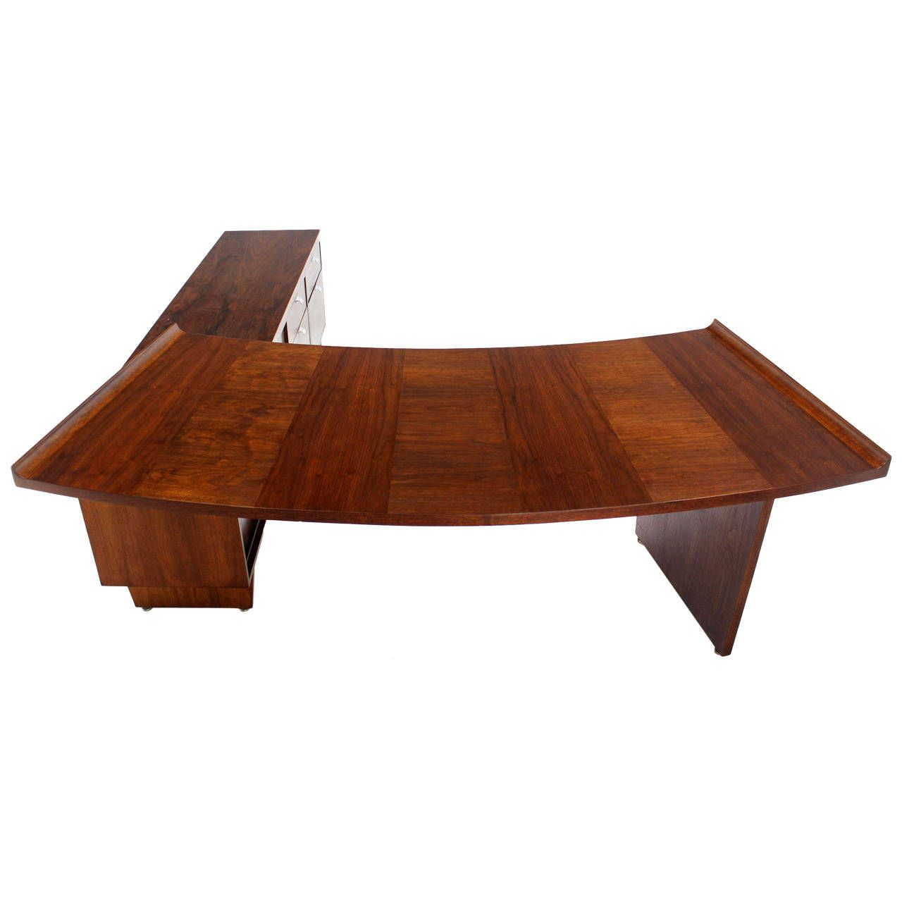 large executive mid-century modern walnut l-shape desk with return