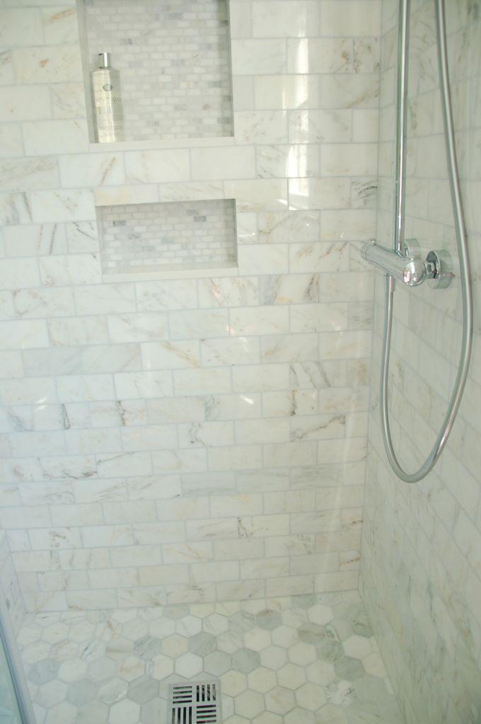 All Same Tile Calcutta Hex On Floor Subway On Walls Mini Bricks In Niche Bathroomideas White Marble Bathrooms Bathrooms Remodel Bathroom Remodel Master