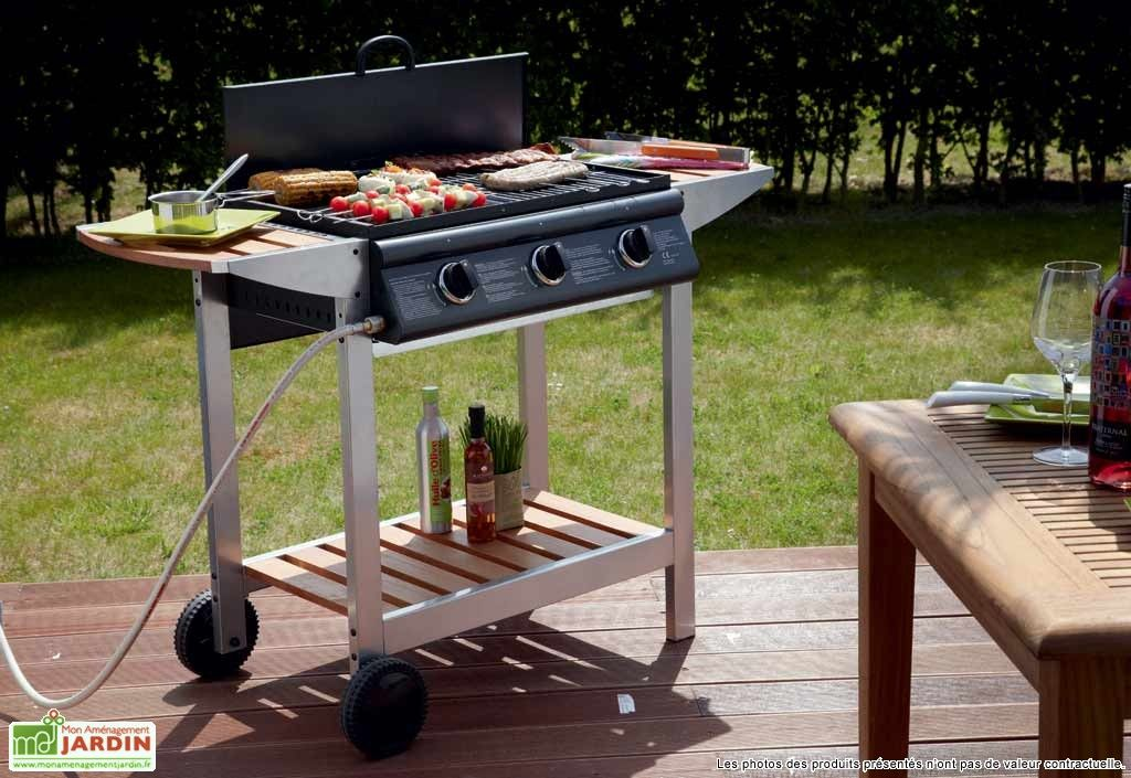 Barbecue + Plancha Gaz Puerta Luna 3 Brûleurs Titane Barbecues