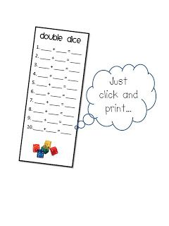 FREE~Math Workstation Printable for K, 1, 2 using double