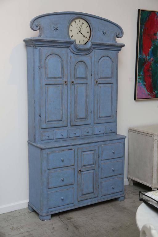 Antique Swedish Tall Blue Painted Clock Cabinet Early 19th Century For Sale At 1stdibs Swedish Decor Scandinavian Clocks Antiques
