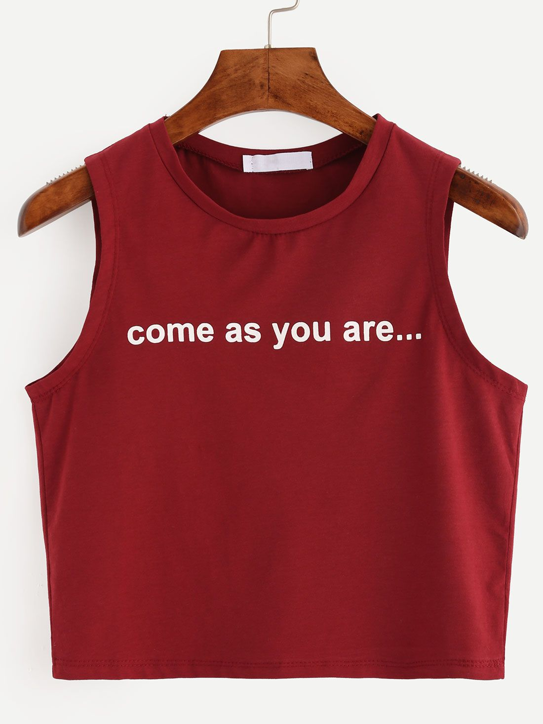 d06f7433b8 Shop Burgundy Letter Print Crop Tank Top online. SheIn offers Burgundy  Letter Print Crop Tank Top & more to fit your fashionable needs.