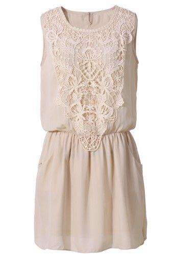 Crochet Chiffon Dress in Nude Pink