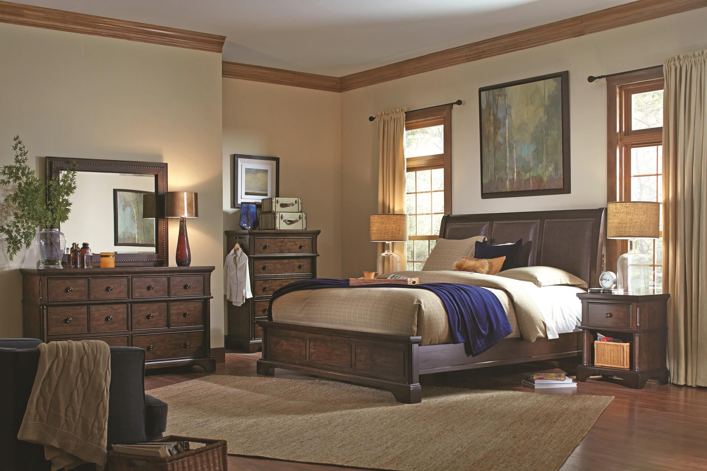 The Rich Mocha Brown Finish On Knotty Alder Veneer Makes This Empire Style Sleigh Bed A Warm