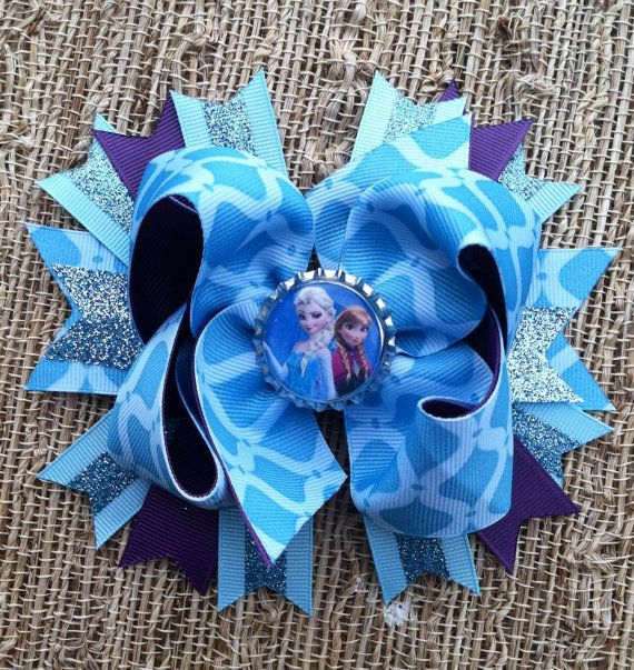 Large Frozen Inspired Stacked Boutique Bow with Bottle Cap Center Blue Glitter and Purple on Etsy, $12.99
