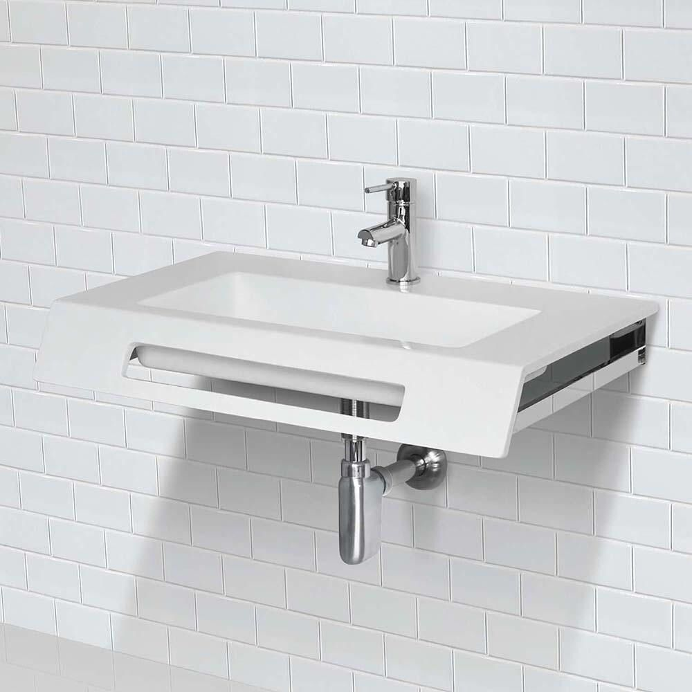 Ellie Solid Surface Ada Compliant Wall Mount Bathroom Sink White
