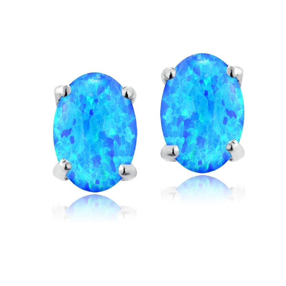925 Silver 6x4 Oval Lab Created Blue Opal Stud Earrings #Unbranded #Stud
