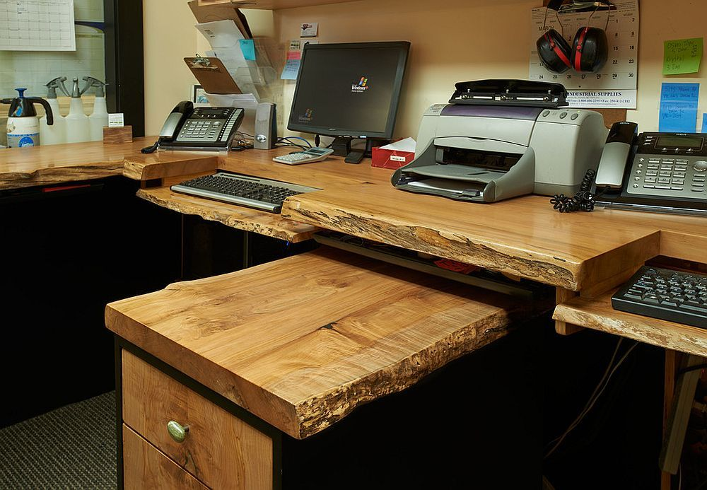 home office workstation. Exquisite Home Office Workstation Crafted Using Raw, Natural Wood [Design: Live Edge Design] N