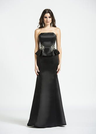 Show off your curves in this mermaid peplum evening dress. The strapless bodice is embellished at the waist with tonal crystals and rhinestone beading.