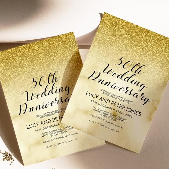 Editable 50th Wedding Anniversary Party Invitation