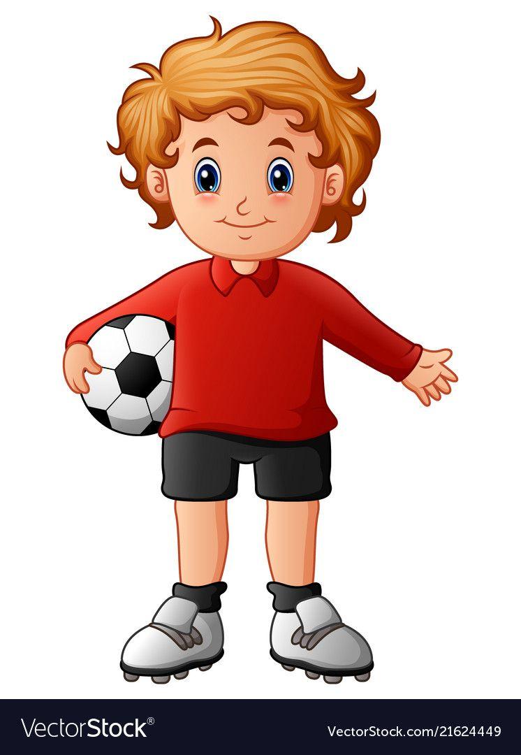 Cartoon Boy Holding Soccer Ball Vector Image On Vectorstock Cartoon Boy Soccer Storybook Characters