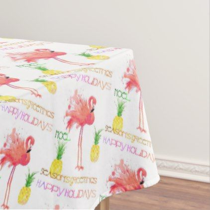 pink flamingo happy holidays watercolor tablecloth pink flamingos