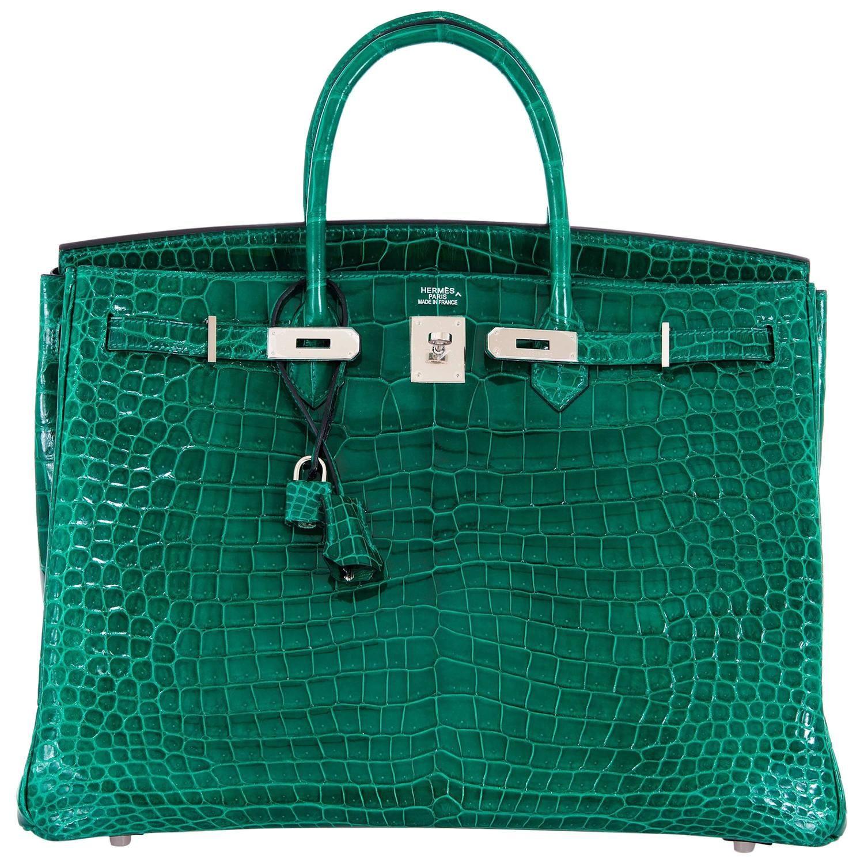 154daa0cccc4 Hermes Birkin Bag 40cm Vert Emerald Porosus Crocodile Impossible Find