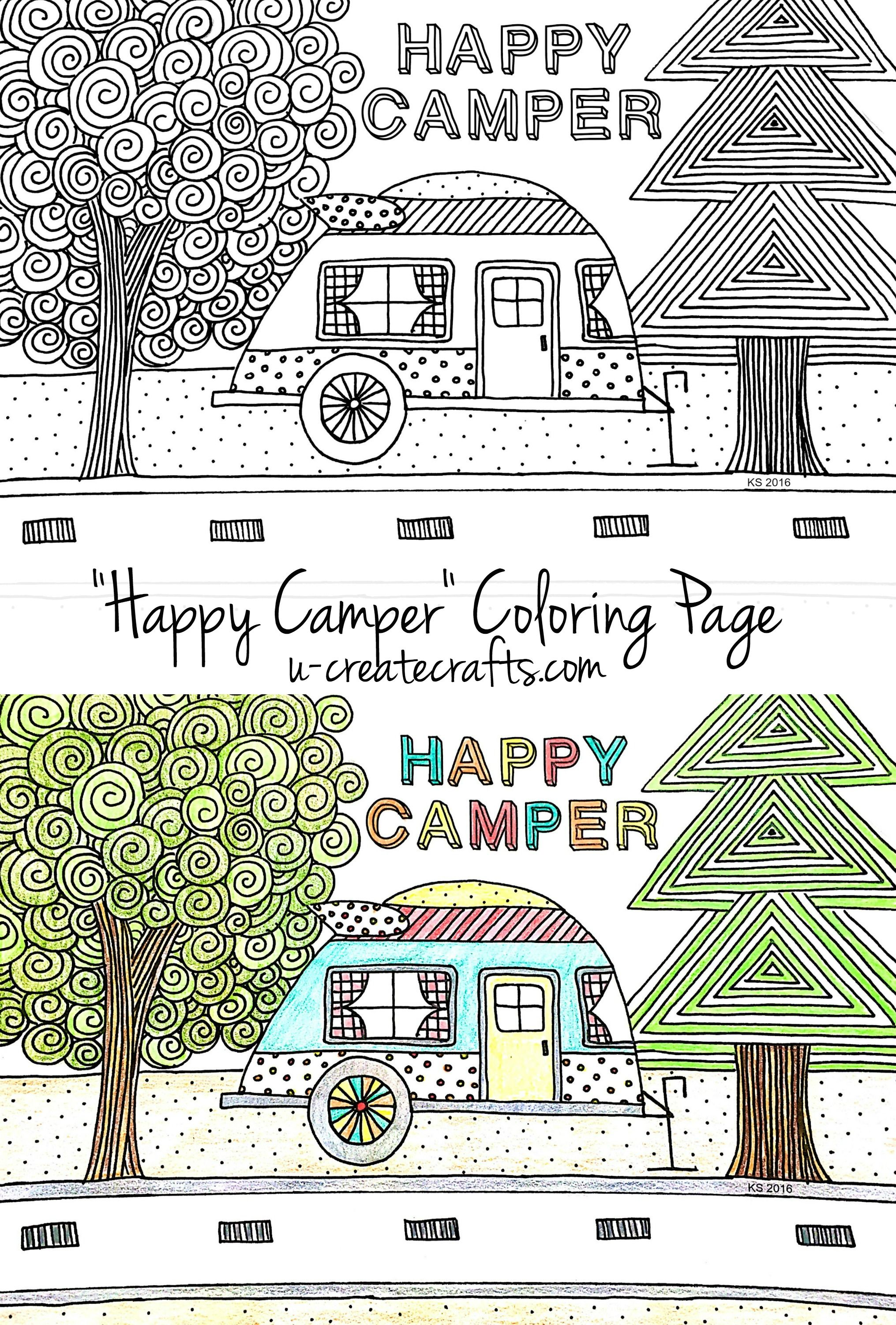 Free coloring pages camping - Happy Camper Coloring Page