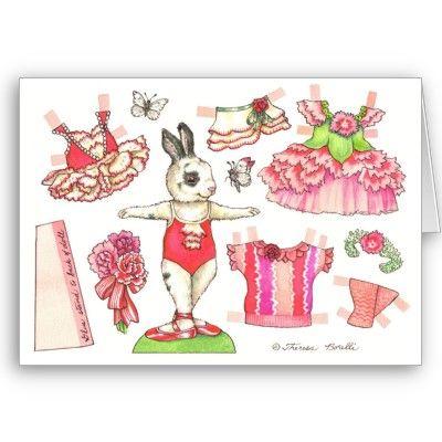 Valentine Bunny paper doll card on Zazzle