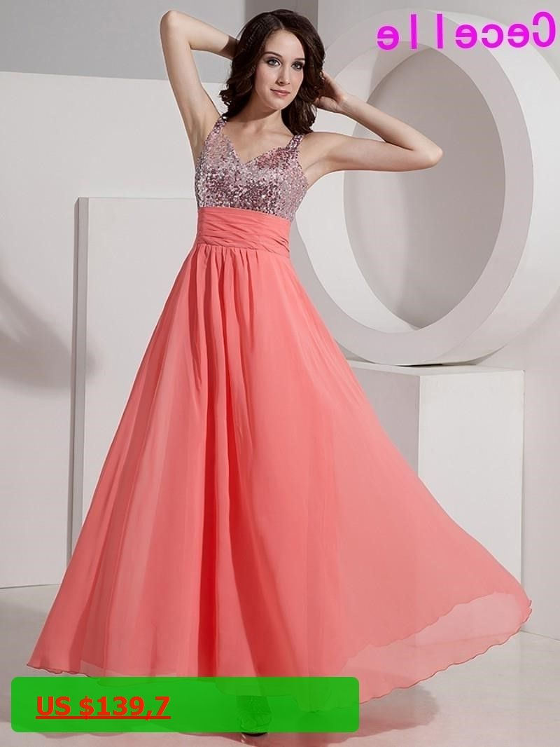 Inexpensive Coral Long A-line V Neck Bridesmaid Dresses Gowns with ...