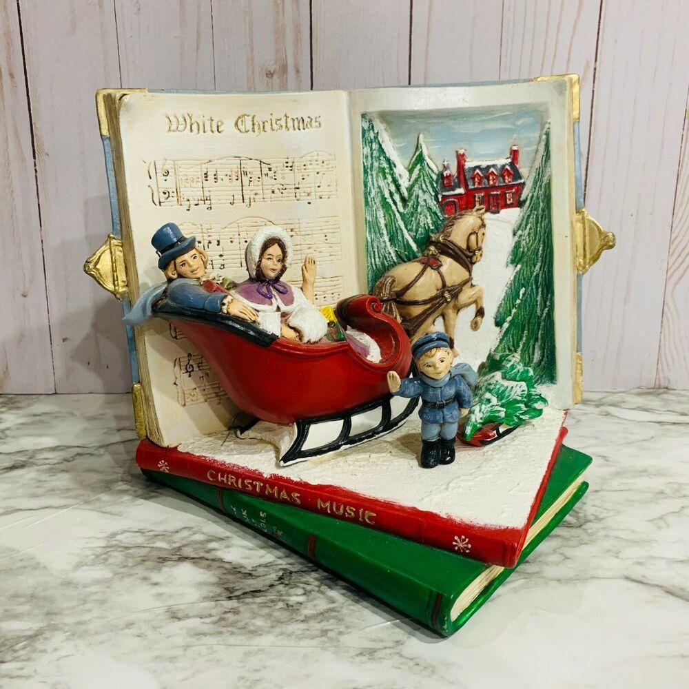 White Christmas Music 2020 vintage White Christmas decor ceramic sheet music books horse