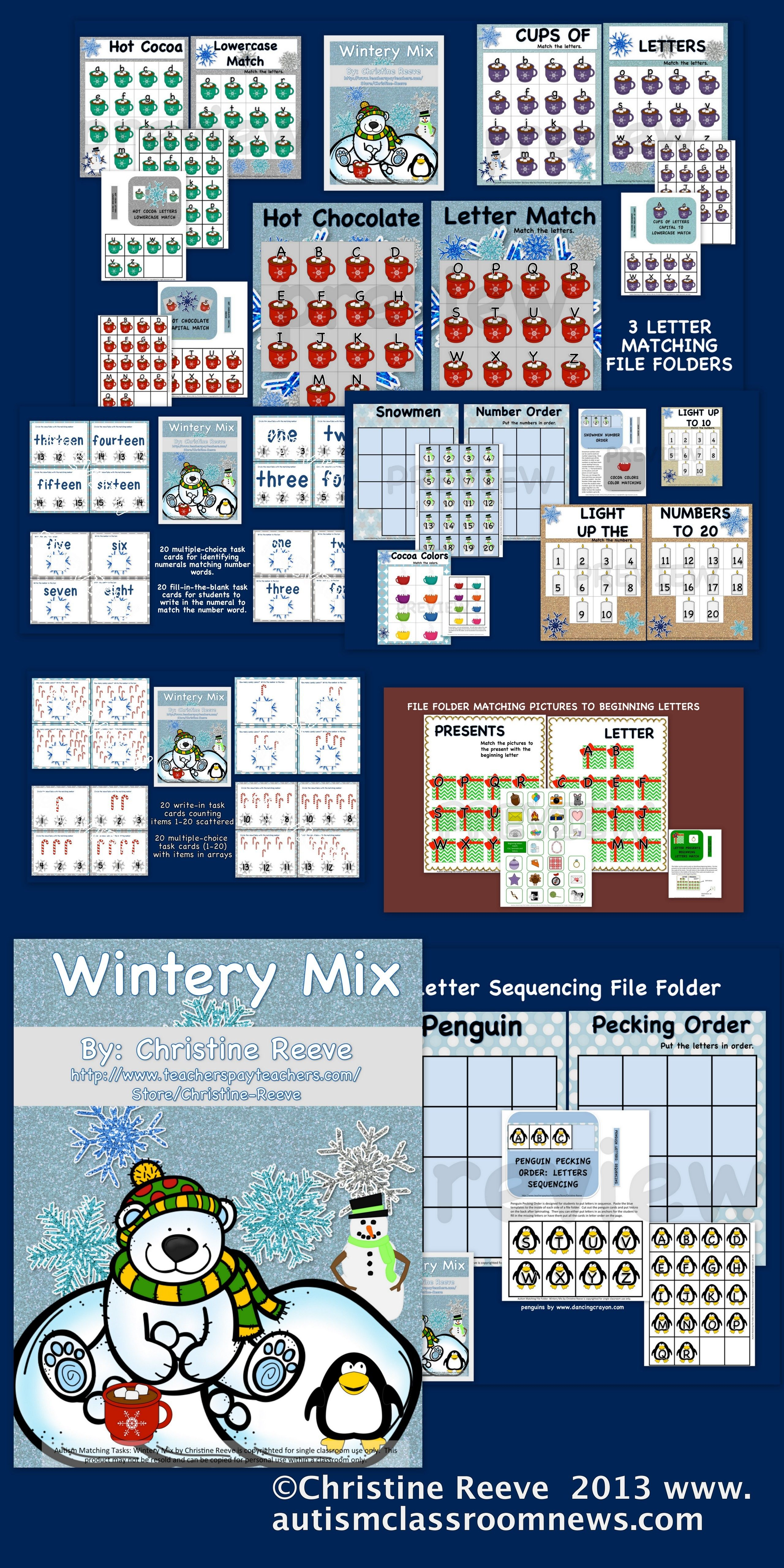 Autism Matching Tasks Wintery Mix Of Letters And Numbers Special Ed Ec