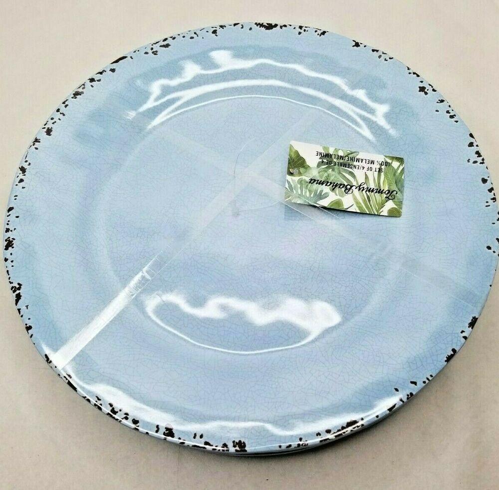 Tommy Bahama Set of  4 Yellow Crackle Edge melamine Salad Bowl Plates New
