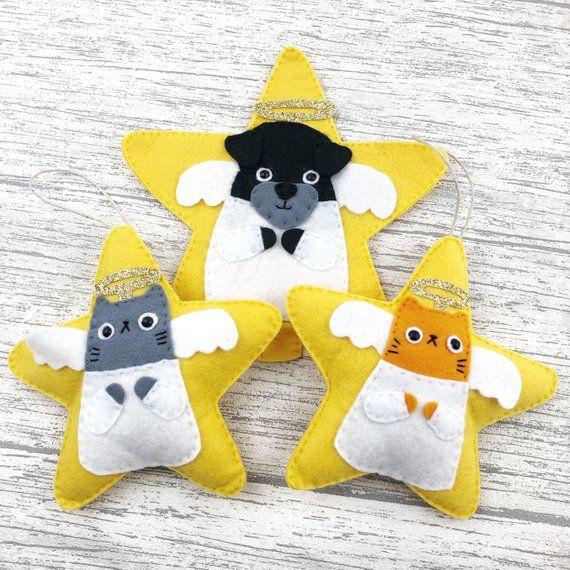 Cat Angel Christmas Tree Topper: Christmas Angels, Cat Christmas Tree Topper, Dog Tree