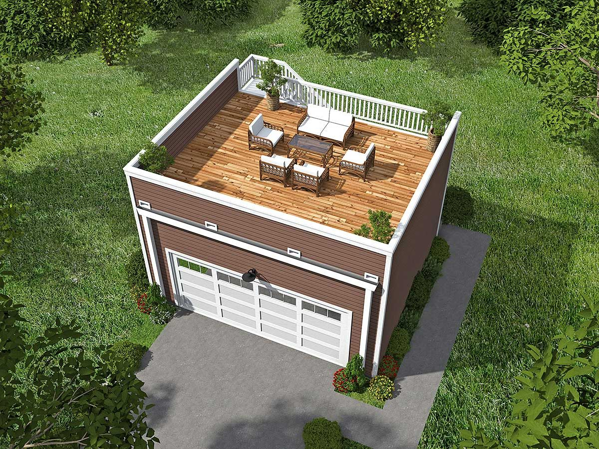 Plan 68436vr garage with roof top deck garage plans for Flat roof garage with deck plans