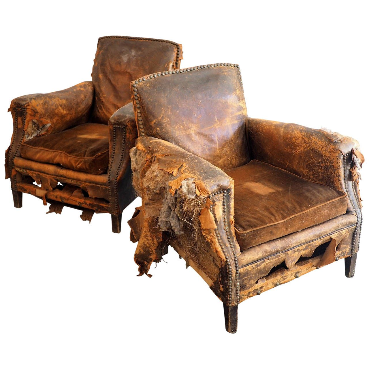 Pair Of Distressed Leather Club Chairs 1stdibs Com In