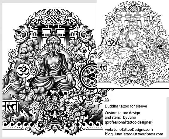 meditating buddha tattoo-tibetan sleeve tattoo-tattoo template ...