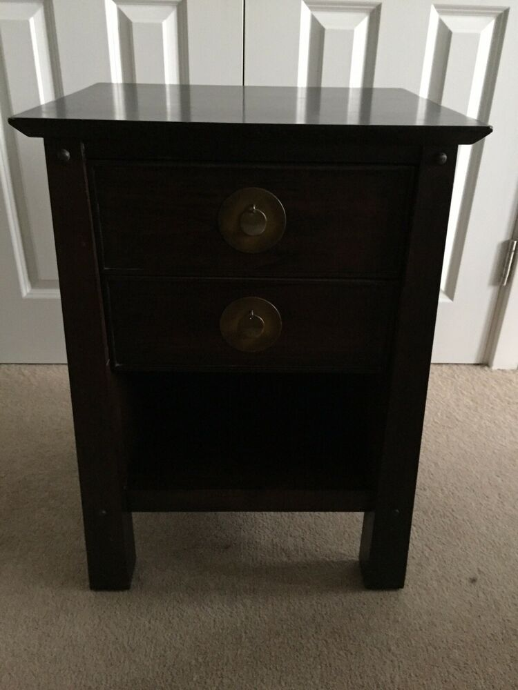 Wood And Metal Bedside Table: Dark Wood Bedside Table. Solid Wood With Metal Handles