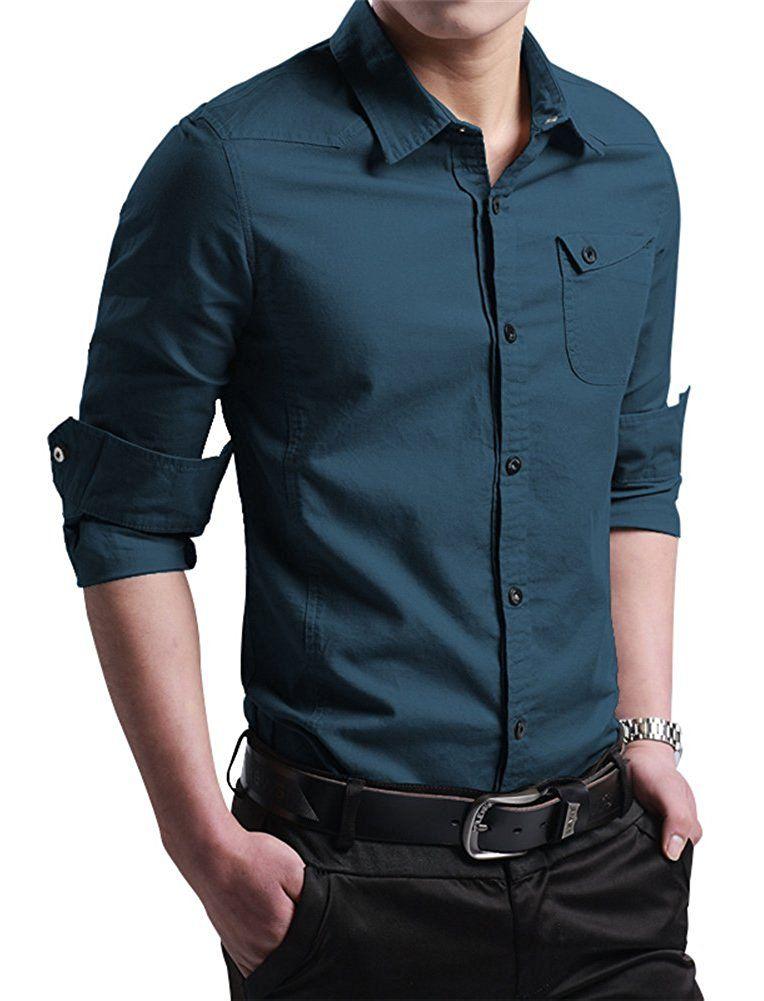 d46a97b3cb6 XTAPAN Men s Casual Slim Fit Shirt Cotton Long Sleeve Button Down Dress  Shirt at Amazon Men s Clothing store