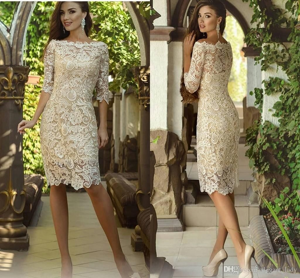 Vintage Knee Length Mother Of The Bride Dresses With Long Sleeve ...