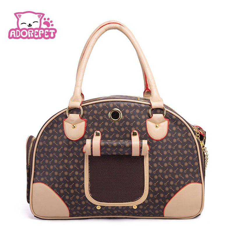 67f70bf4d6 Pet cat small dog Travel luxury pu leather Carrier bag outdoor ...